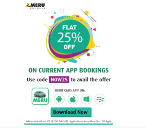 Merucabs 25% off NOW25