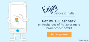 paytm Rs 10 cashback on Rs 30 recharge