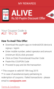 alive app Rs 50 paytm discount coupon