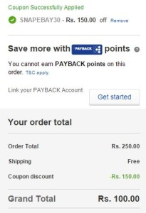 ebay Rs 150 off on Rs 250 + 10 cashback