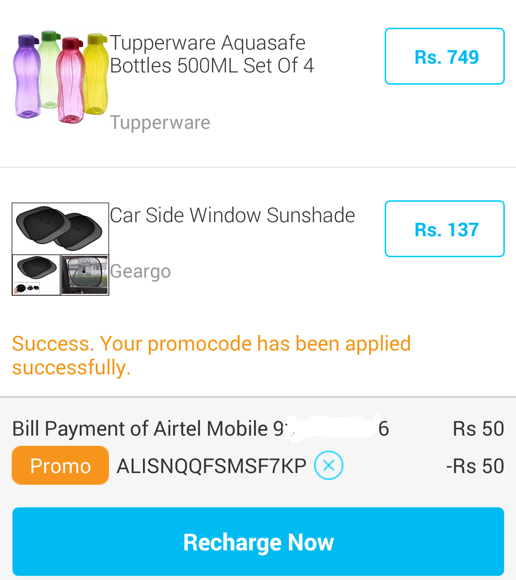 Paytm coupons for recharge of 50