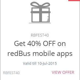 redbus flat 40% off on bus tickets + extra 30% off