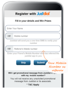 Just dial Refer & earn snapshot