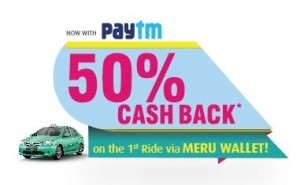 Meru Cab 50 cb on paying via Paytm
