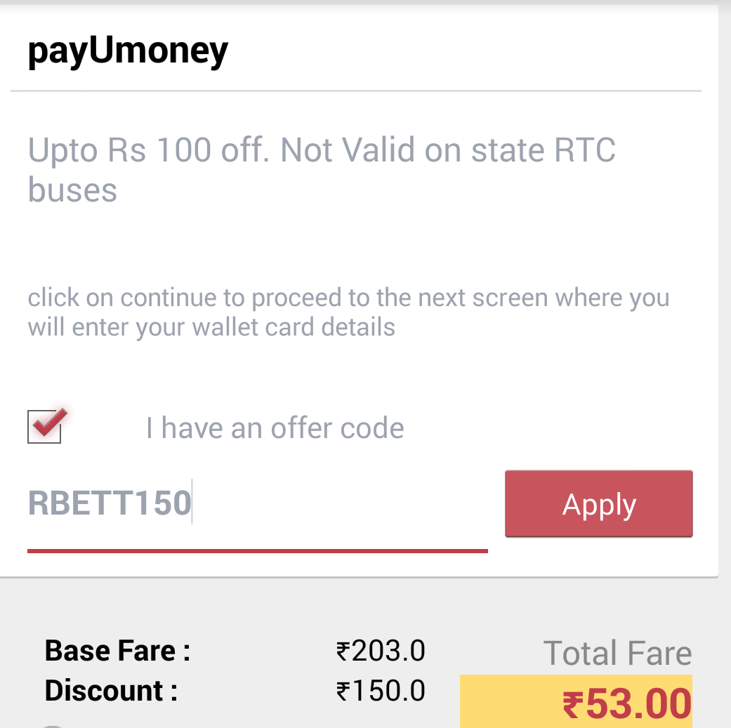 Redbus discount coupon code