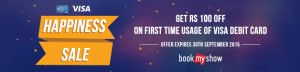 Get flat INR 100 off on purchase of movie tickets on BookMyShow with Visa Debit Cards