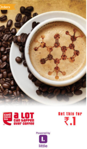cafe coffee day regular cappuccino at Re 1
