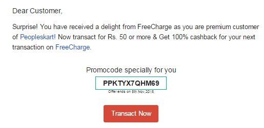 Freecharge recharge coupons today