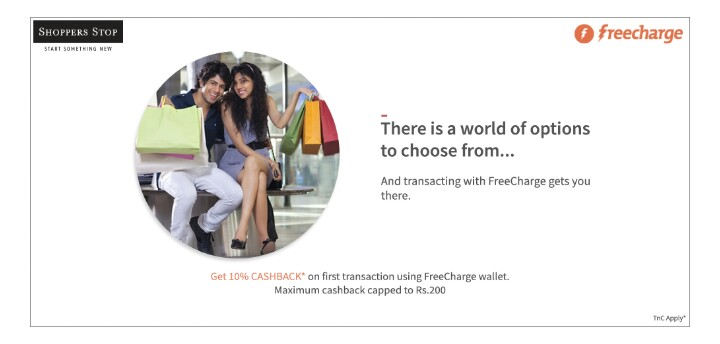 Shoppers Stop Freecharge Offer- Get 10% Cashback when you