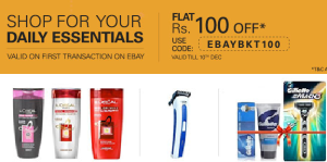 ebay monthly basket shop daily essentials flat Rs 100 off