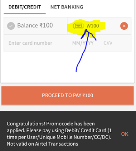 freecharge Rs 100 cashback on Rs 100 recharge or bill