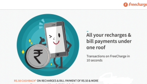 freecharge Rs 50 cashback on Rs 50 recharge all users