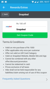 Snapdeal coupons 100 off