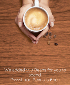 CCD app Rs 100 beans credited free