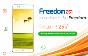 freedom 251 book smartphone for Rs 251 only at 6 AM 18th february