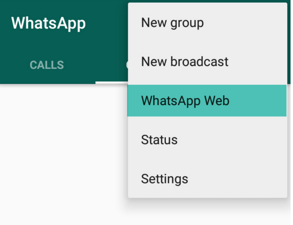whatsapp web option in mobile 3 dots at right top