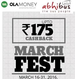 Abhibus– Get Flat 20% Cashback on Bus Ticket Bookings Via OLA Money (Max Rs 175)