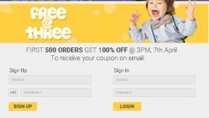 Firstcry Free @ Three– Get First 500 orders worth Rs.1000 Absolutely free1