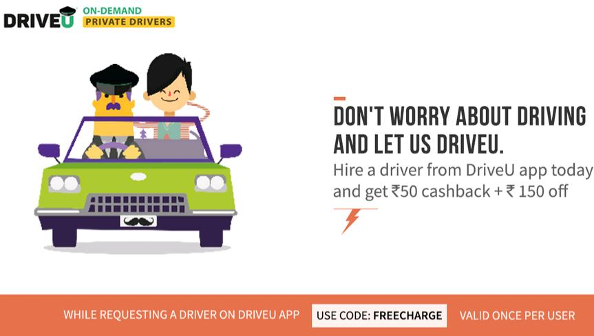 Freecharge- Get Flat Rs 150 Off on Hiring a Driver from