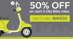 Ola- Get flat 50 off on your next 5 Ola Bike Rides (Gurgaon)
