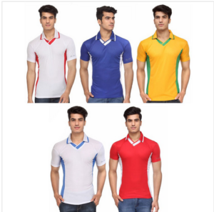 Shopcj - Buy Pack of 5 Polo V-NECK Sports T-SHIRTS at Rs 609 + 99 Delivery Charge