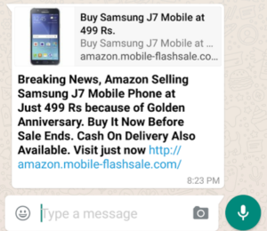 amazon Samsung J7 mobile phone Rs 499 fake whatsapp message