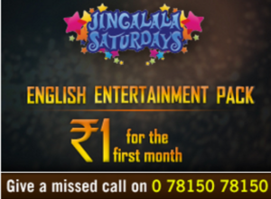 tatasky jinglala saturdays english entertainment pack for Re 1 for 30 days