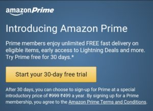 Amazon 30 days trail