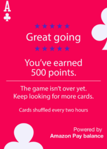amazon train of cards game collect points get Rs 50