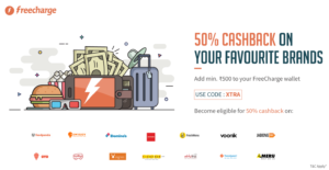 freecharge add Rs 500 to wallet and get 50 cashback on dominos jabong and many more