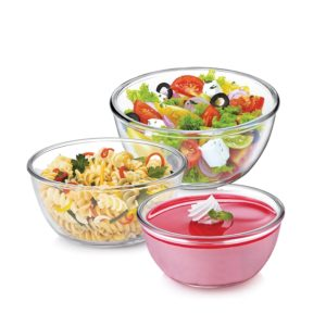 Amazon - Buy Cello Ornella Borosilicate Glass Mixing Bowl Set, 3-Pieces, Clear at Rs 437 only