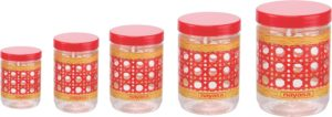 Amazon - Buy Nayasa Sparkle Plastic Container Set, 5-Pieces, Red at Rs 271 only