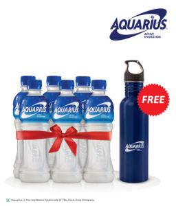 Aquarius Active Hydration Drink 400 ml Pack of 6 (Stainless Steel Sipper Worth Rs 200 Free) Rs 180 only snapdeal