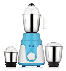 Boss Joy 550-Watt Mixer Grinder, 3 Jars, White-Blue