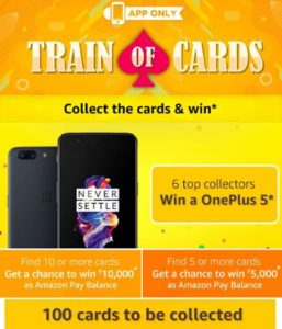 amazon app train of cards get to win oneplue 5 or amazon pay balance answers added dealnoot 26th september