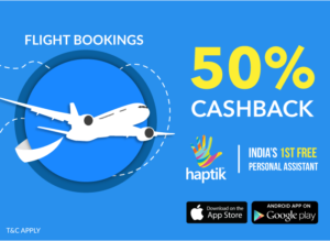 Haptik App - Get 50% cashback upto Rs 500 on Flight Bookings , DTH & Utility Bill Payments using Timescard