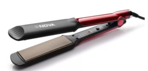 Nova Temperature Control Professional NHS 870 Hair Straightener (Black/Red)
