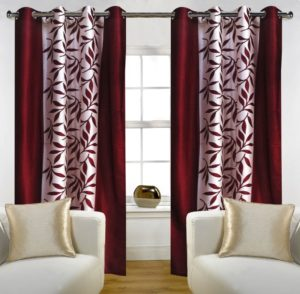 Amazon- Buy Home Candy Leaves Floral 4 Piece Polyester Door Curtain Set