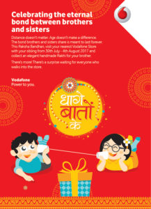 Vodafone Rakhi Offer- Visit nearest Store and Get free Rakhi with More Surpise Gifts