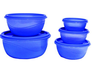 Princeware Store Fresh Plastic Bowl Package Container, Set of 5, Blue at rs.101