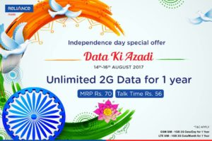 Reliance Unlimited 2G Data for 1 Year + Rs 56 Talktime on recharge with Rs 70