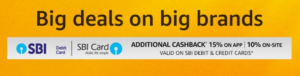amazon great indian sale get upto 15 cashback with SBI Cards 9-12 august