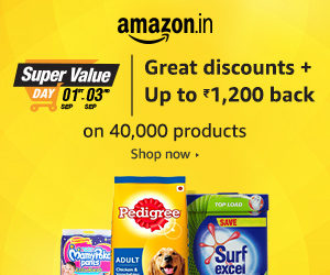 amazon super value days september get upto Rs 1200 cashback on 40000 products
