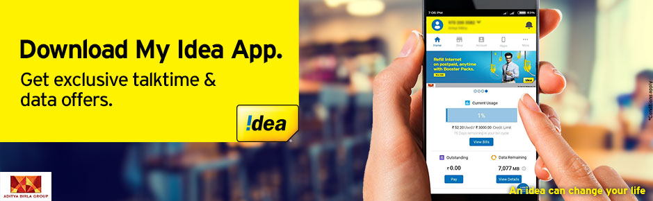 Idea App Offer: FREE  512MB  Data on First Time Registration