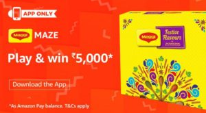 amazon app maggi maze contest win Rs 5000 answers added