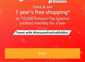 festive riddles amazon app get Rs 10000 pay balance answers