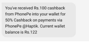 haptik app phonepe wallet 50 cashback proof
