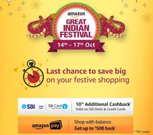 AMAZON Great indian festival 14-17th october get 10 cashback SBI BEST deals and offers