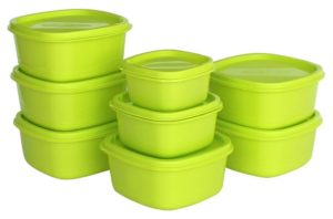 Amazon - Buy Princeware Plastic Storage Container Set, 8-Pieces, Green at Rs 149 only