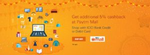 PaytmMall Diwali Maha Cashback Sale 2017 - ICICI Offer Terms and Conditions